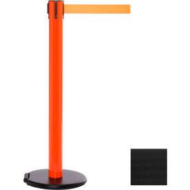 Orange Post Safety Barrier, 15 Ft., Black Belt - W/Roller Base - Pkg Qty 2