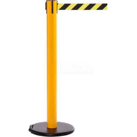 Yellow Post Safety Barrier, 15 Ft., Orange Belt - W/Roller Base - Pkg Qty 2