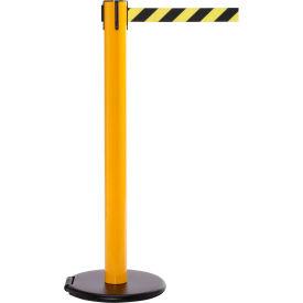 Yellow Post Safety Barrier, 15 Ft., Yellow/Black Diagonal Striped Belt - W/Roller Base - Pkg Qty 2