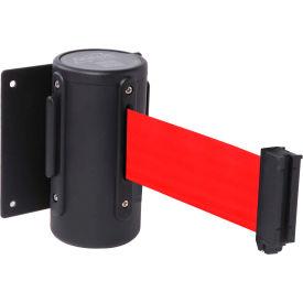Wall Mounted Retracting Belt Barrier, 10'L Red Belt, WM300B-RD100