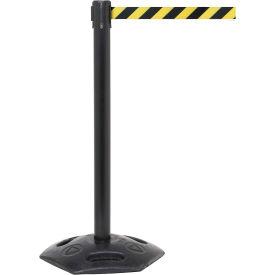 WeatherMaster Black Post Retracting Belt Barrier, 11 Ft. Yellow/Black Belt