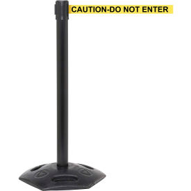 WeatherMaster Black Post Retracting Belt Barrier, 11 Ft. Yellow Caution Belt