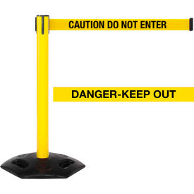 "WeatherMaster Xtra Yellow Post Belt Barrier, 3""W x 11 Ft. Yellow Danger Belt"