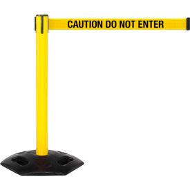 WeatherMaster Yellow Post Retracting Belt Barrier, 11 Ft. Yellow Caution Belt