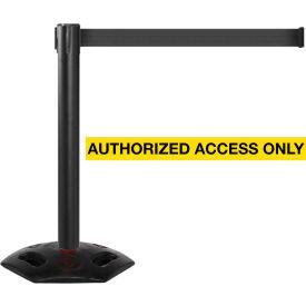 WeatherMaster 300 Black Post Retracting Belt Barrier, 16 Ft. Yellow Authorized Belt