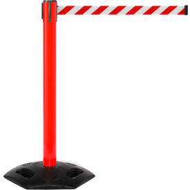 WeatherMaster 300 Red Post Retracting Belt Barrier, 16 Ft. Red/White Belt