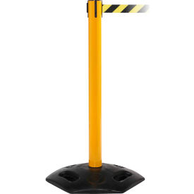 WeatherMaster 300 Yellow Post Retracting Belt Barrier, 16 Ft. Red Authorized Belt