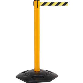 WeatherMaster 300 Yellow Post Retracting Belt Barrier, 16 Ft. Yellow/Black Belt
