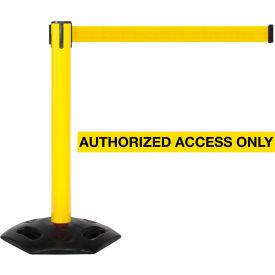 WeatherMaster 300 Yellow Post Retracting Belt Barrier, 16 Ft. Yellow Authorized Belt