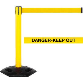 WeatherMaster 300 Yellow Post Retracting Belt Barrier, 16 Ft. Yellow Danger Belt
