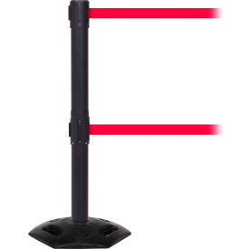 WeatherMaster Twin Black Post Retracting Belt Barrier, ADA Compliant, 11 Ft. Red Belt