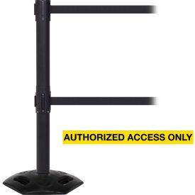 WeatherMaster Twin Black Post Retracting Belt Barrier, ADA Compliant, 11 Ft. Yellow Authorized Belt