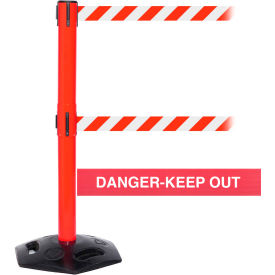 WeatherMaster Twin Red Post Retracting Belt Barrier, ADA Compliant, 11 Ft. Red Danger Belt