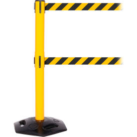 WeatherMaster Twin Yellow Post Retracting Belt Barrier, ADA Compliant, 11 Ft. Yellow/Black Belt