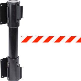 WallPro Twin Black Post Retracting Belt Barrier, 7.5 Ft. Red/White Belt