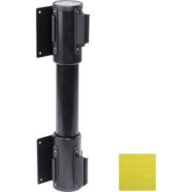 WallPro Twin Black Post Retracting Belt Barrier, 7.5 Ft. Yellow Belt