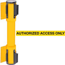 WallPro Twin Yellow Post Retracting Belt Barrier, 10 Ft. Yellow Authorized Belt