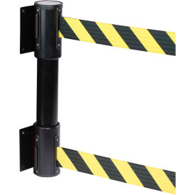 WallPro Twin Black Post Retracting Belt Barrier, 15 Ft. Yellow/Black Belt