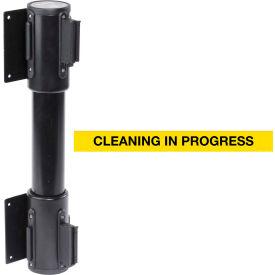 WallPro Twin Black Post Retracting Belt Barrier, 15 Ft. Yellow Clean In Progress Belt