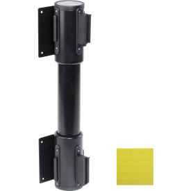 WallPro Twin Black Post Retracting Belt Barrier, 15 Ft. Yellow Belt