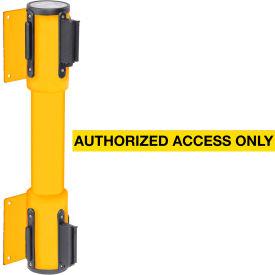 WallPro Twin Yellow Post Retracting Belt Barrier, 15 Ft. Yellow Authorized Belt