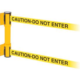 WallPro Twin Yellow Post Retracting Belt Barrier, 15 Ft. Yellow Caution Belt