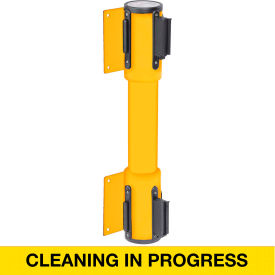WallPro Twin Yellow Post Retracting Belt Barrier, 15 Ft. Yellow Clean In Progress Belt