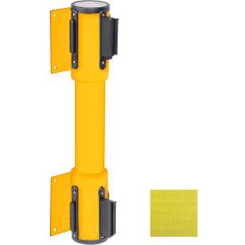 WallPro Twin Yellow Post Retracting Belt Barrier, 15 Ft. Yellow Belt