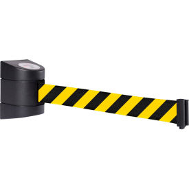 WallPro 400 Black Wall Mount Retracting Barrier, 15' Yellow/Black Striped Belt