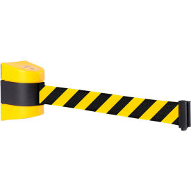 WallPro 400 Yellow Wall Mount Retracting Barrier, 15' Yellow/Black Striped Belt