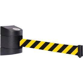 WallPro 450 Black Wall Mount Retracting Barrier, 20' Yellow/Black Striped Belt