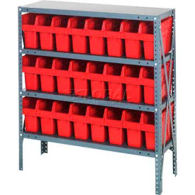 "Quantum 1239-SB801 Steel Shelving with 24 8""H Plastic Shelf Bins Red, 36x12x39-SB4 Shelves"