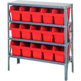 "Quantum 1239-SB802 Steel Shelving with 15 8""H Plastic Shelf Bins Red, 36x12x39-SB4 Shelves"