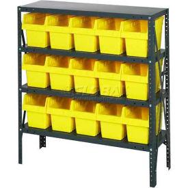 "Quantum 1239-SB802 Steel Shelving with 15 8""H Plastic Shelf Bins Yellow, 36x12x39-SB4 Shelves"