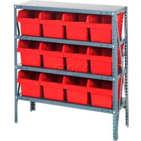 "Quantum 1239-SB807 Steel Shelving with 12 8""H Plastic Shelf Bins Red, 36x12x39-SB4 Shelves"