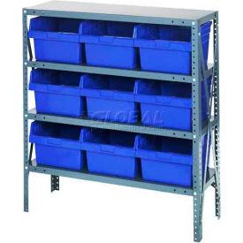 "Quantum 1239-SB809 Steel Shelving with 9 8""H Plastic Shelf Bins Blue, 36x12x39-SB4 Shelves"