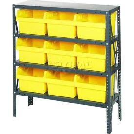 "Quantum 1239-SB809 Steel Shelving with 9 8""H Plastic Shelf Bins Yellow, 36x12x39-SB4 Shelves"