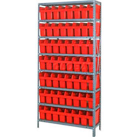 "Quantum 1275-SB801 Steel Shelving with 56 8""H Plastic Shelf Bins Red, 36x12x75-SB8 Shelves"