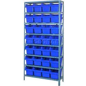 "Quantum 1275-SB807 Steel Shelving with 28 8""H Plastic Shelf Bins Blue, 36x12x75-SB8 Shelves"
