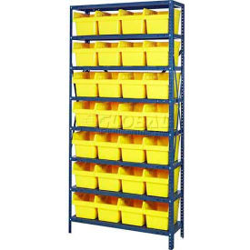 "Quantum 1275-SB807 Steel Shelving with 28 8""H Plastic Shelf Bins Yellow, 36x12x75-SB8 Shelves"