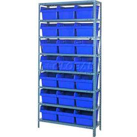 "Quantum 1275-SB809 Steel Shelving with 21 8""H Plastic Shelf Bins Blue, 36x12x75-SB8 Shelves"