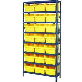 "Quantum 1275-SB809 Steel Shelving with 21 8""H Plastic Shelf Bins Yellow, 36x12x75-SB8 Shelves"