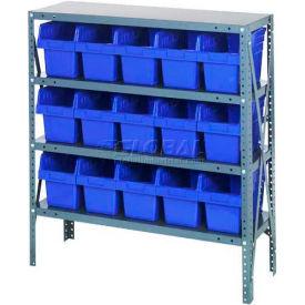 "Quantum 1839-SB804 Steel Shelving with 15 8""H Plastic Shelf Bins Blue, 36x18x39-SB4 Shelves"