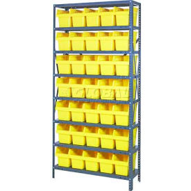 "Quantum 1875-SB804 Steel Shelving with 35 8""H Plastic Shelf Bins Yellow, 36x18x75-SB8 Shelves"