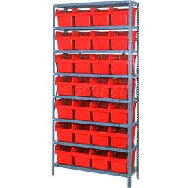 "Quantum 1875-SB808 Steel Shelving with 28 8""H Plastic Shelf Bins Red, 36x18x75-SB8 Shelves"