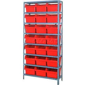 "Quantum 1875-SB810 Steel Shelving with 21 8""H Plastic Shelf Bins Red, 36x18x75-SB8 Shelves"