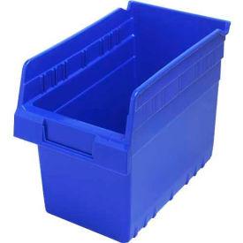 "Quantum Plastic Shelf Storage Bin QSB802 Nestable, 6-5/8""W x 11-5/8""D x 8""H, Blue - Pkg Qty 30"