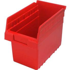 "Quantum Plastic Shelf Storage Bin QSB802 Nestable, 6-5/8""W x 11-5/8""D x 8""H, Red - Pkg Qty 30"