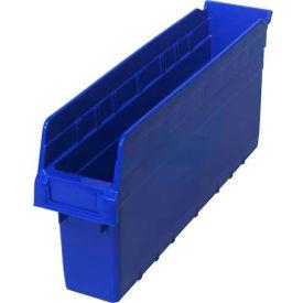 "Quantum Plastic Shelf Storage Bin QSB803 Nestable, 4-3/8""W x 17-7/8""D x 8""H, Blue - Pkg Qty 20"
