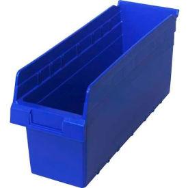 "Quantum Plastic Shelf Storage Bin QSB804 Nestable, 6-5/8""W x 17-7/8""D x 8""H, Blue - Pkg Qty 20"